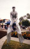 Silver tennis statue on stilts